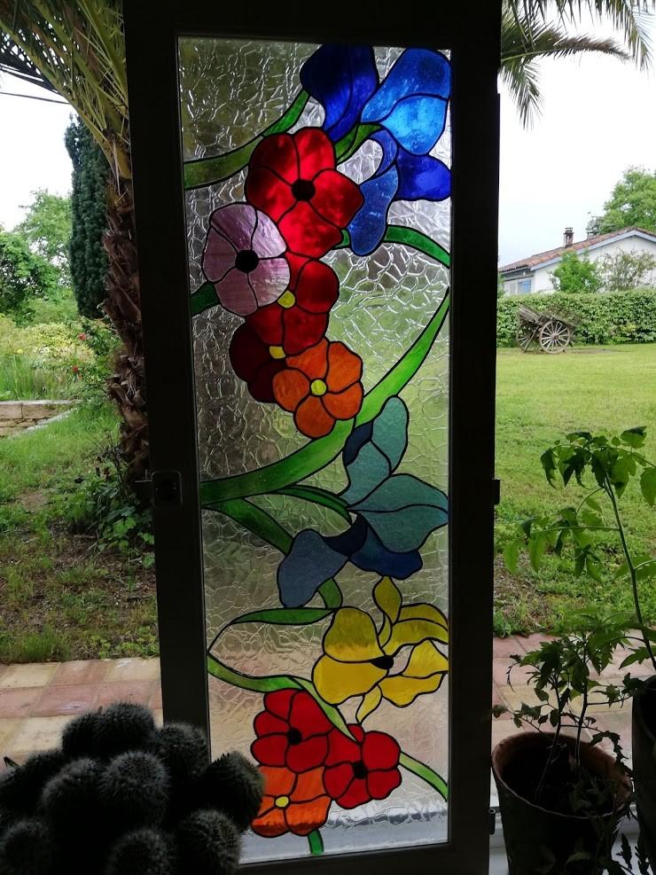 Vitrail fleurs creation